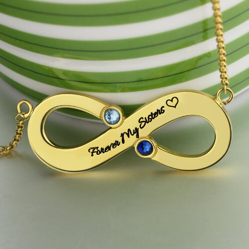 Engraved Infinity With Two Birthstones