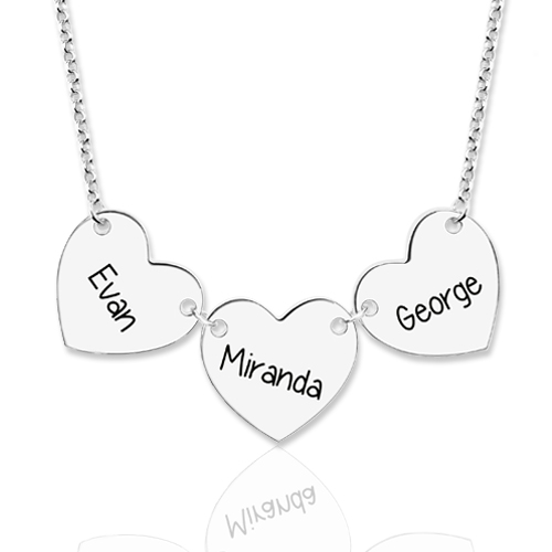 Custom Engraved Heart Necklace Sterling Silver