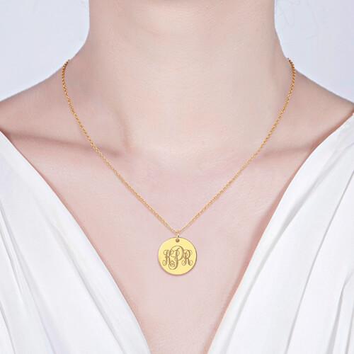 Disc Script Monogram Necklace 18K Gold Plated