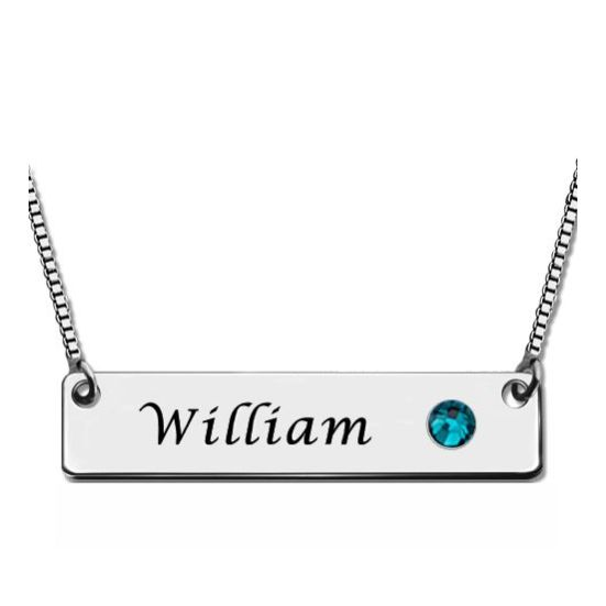 Nameplate Bar Necklace with Birthstone Silver