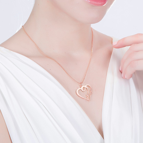 Love Heart Necklace With Two Names In Rose Gold