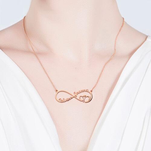 Infinity Heart In Heart Necklace In Rose Gold