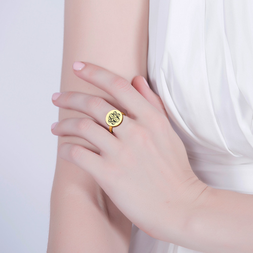 Engraved Monogram Ring Gold Plated