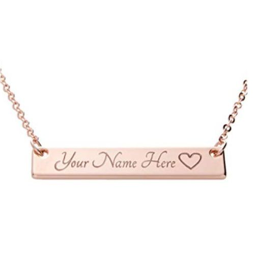 Engraved Name Bar Necklace Rose Gold Plated