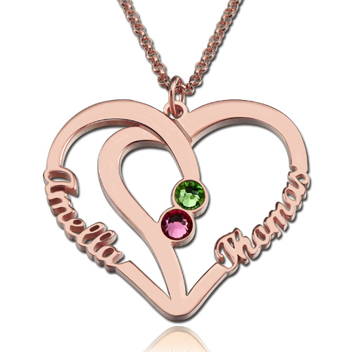 Heart Name Necklace Two Birthstones Rose Gold