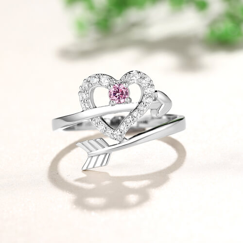 Personalized Arrow Heart Ring Sterling Silver
