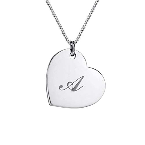 Classic Initial Heart Necklace Sterling Silver