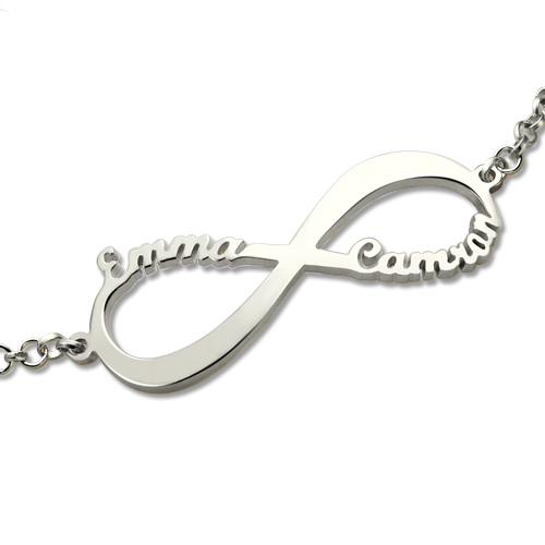 Personalized Infinity Two Names Bracelet Sterling Silver