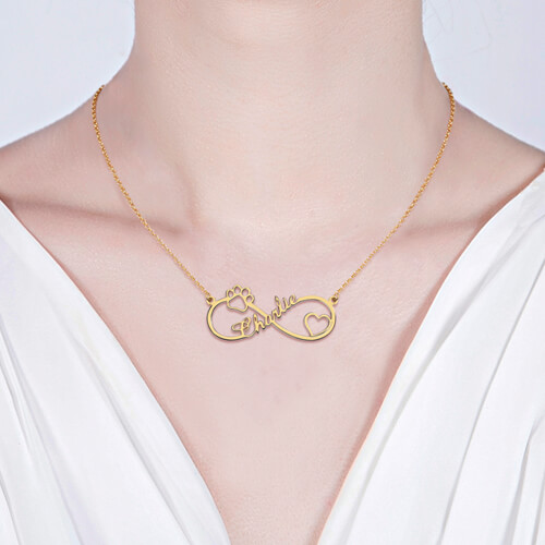 Infinity Paw Print Name Necklace Gold Plated