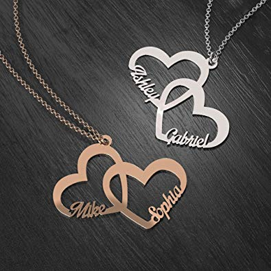 Couple Names Necklace In Sterling Silver