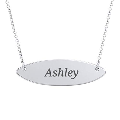 Circle Nameplate Necklace in Sterling SIlver