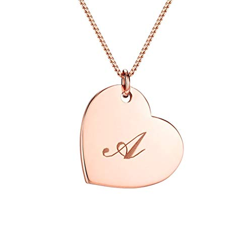 Classic Initial Heart Necklace Rose Gold