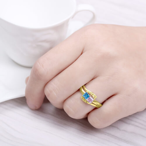 Engraved Two Birthstones Ring Gold Plated