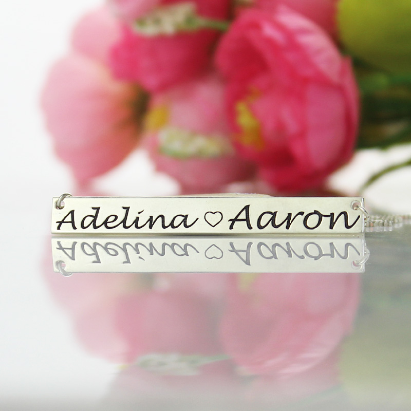 Couple Bar Necklace Engraved Name Sterling Silver