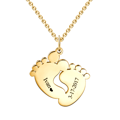 Personalized Baby Feet Necklace 18k Gold Plated