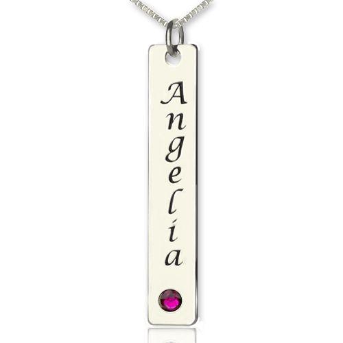 Vertical Bar Necklace Name Tag Silver