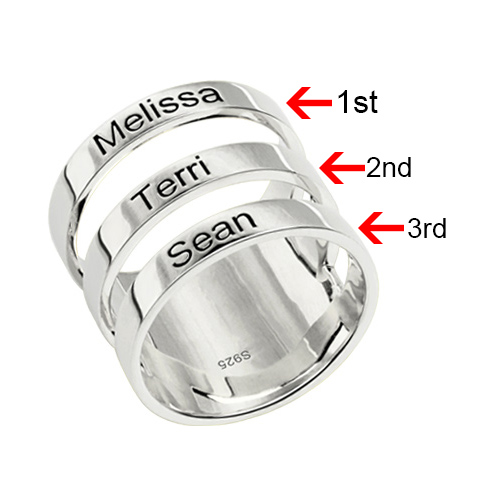 Mother's Engraved Three Names Ring Sterling Silver