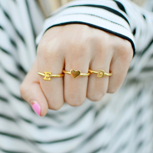 Stackable Initial Ring 18k Gold Plated