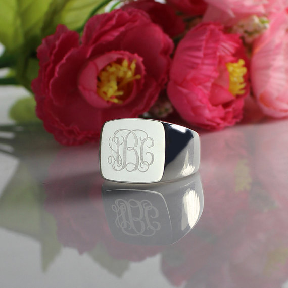 Square Designs Monogram Ring Sterling Silver