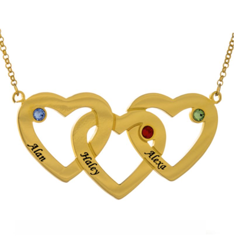 Intertwined Hearts Birthstones Necklace In Gold