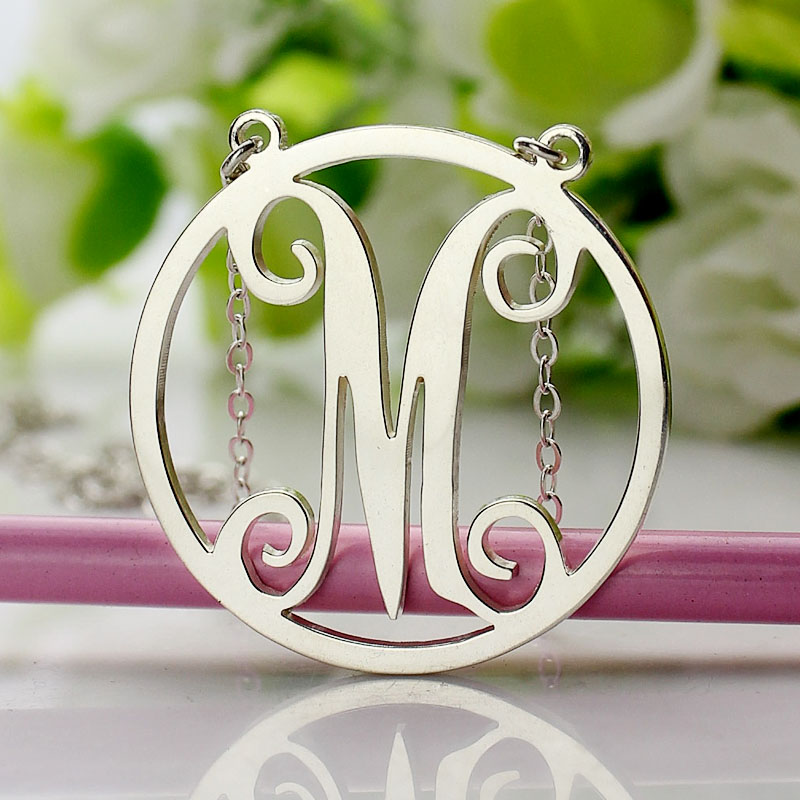 Small Single Circle Monogram Letter Necklace
