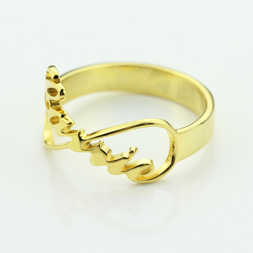 Custom Infinity Name Ring 18k Gold Plated
