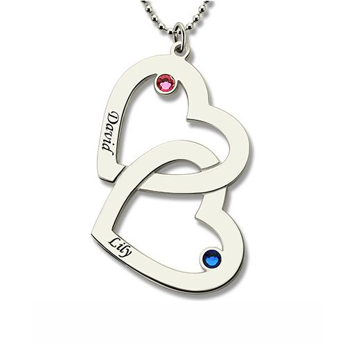 Mommy Double Heart Name Necklace