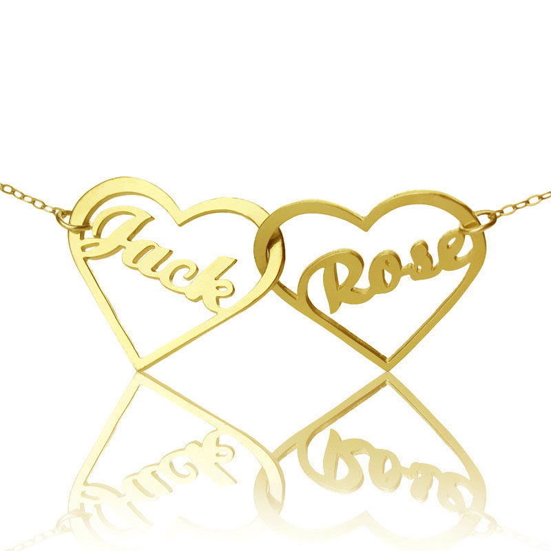 Double Heart Name Necklace 18k Gold Plated