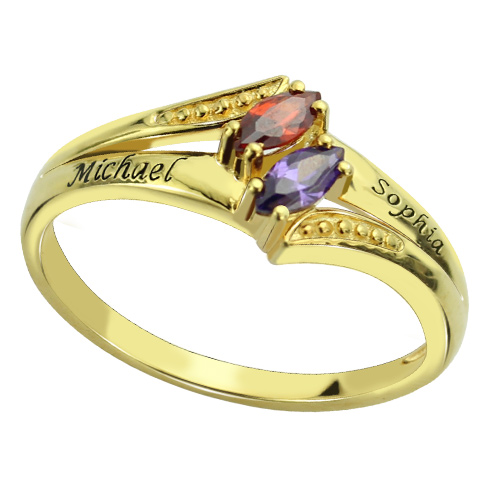 Engraved Double Birthstones Ring