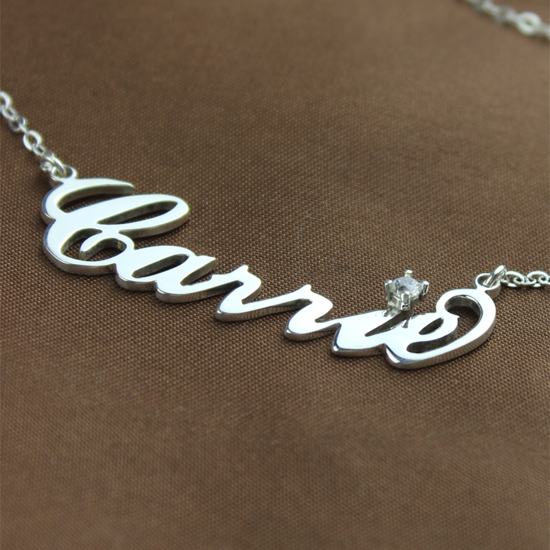 Sterling Silver Carrie Name Necklace With Birthstone