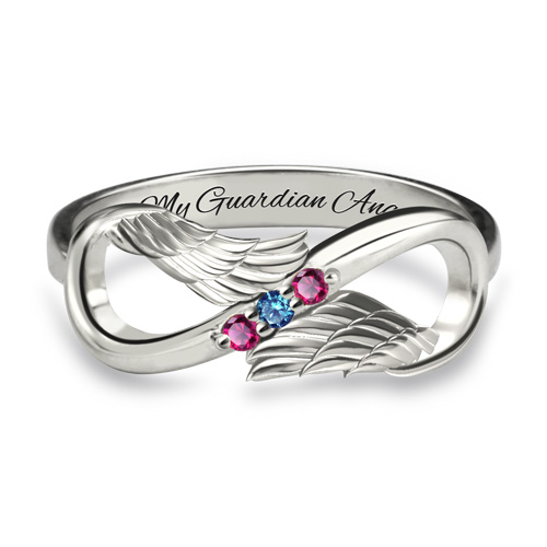Angel Wings Infinity Ring Platinum Plated
