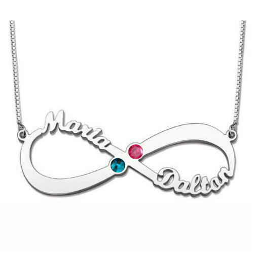 Infinity Necklace with Birthstones - Sterling Silver
