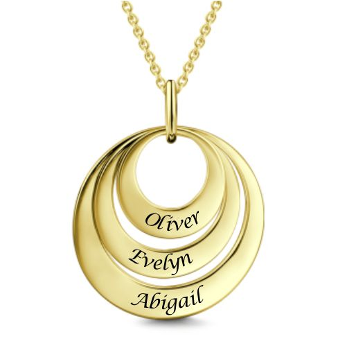 Engravable Three Disc Necklace 18k Gold Plated