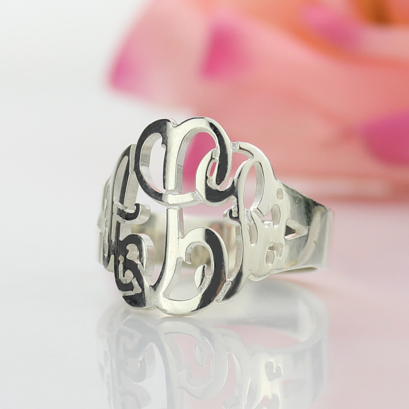 Personalized Hand Drawing Monogrammed Ring Silver
