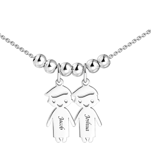 Mother's Necklace with 2-5 Children Charms Silver