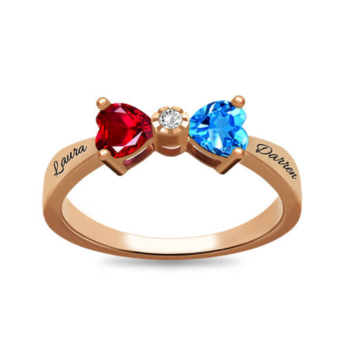 Custom Heart Birthstone Bow Ring - Rose Gold