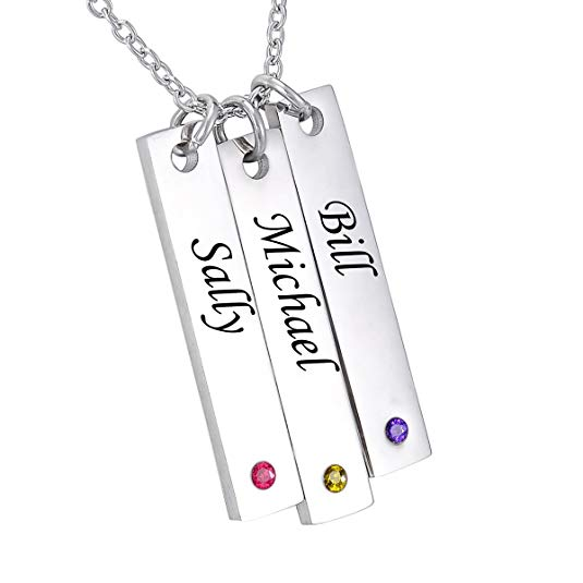 Vertical Sterling Silver Bar Necklace with Swarovski