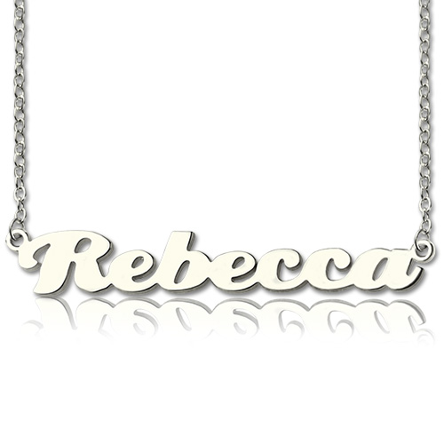 Sterling Silver Puff Font Necklace