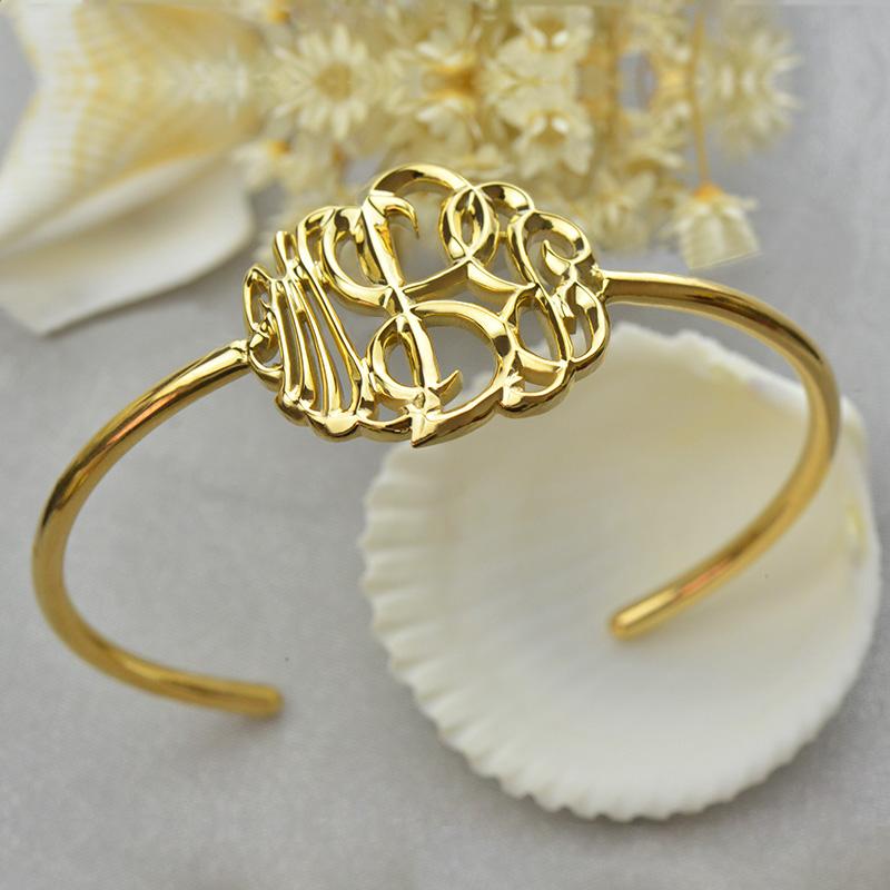 Monogram Bangle Bracelet Hand-paint