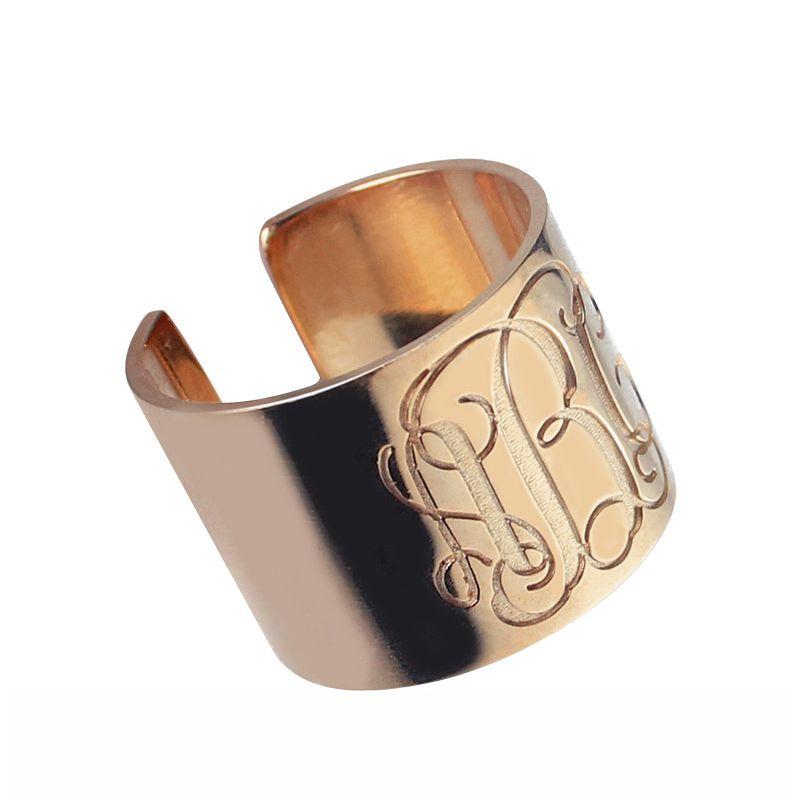 Engraved Monogram Cuff Ring Rose Gold