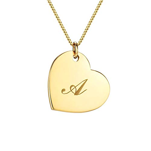 Classic Initial Heart Necklace 18k Gold Plated