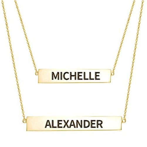 Engraved Bar Necklace Set Gold Plated