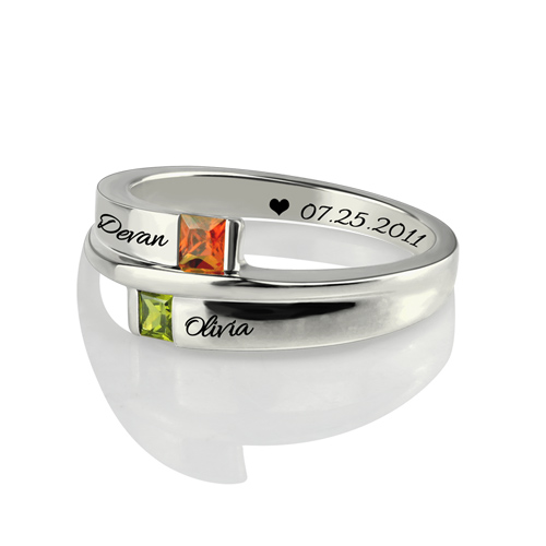 Engraved Double Square Birthstone Rings