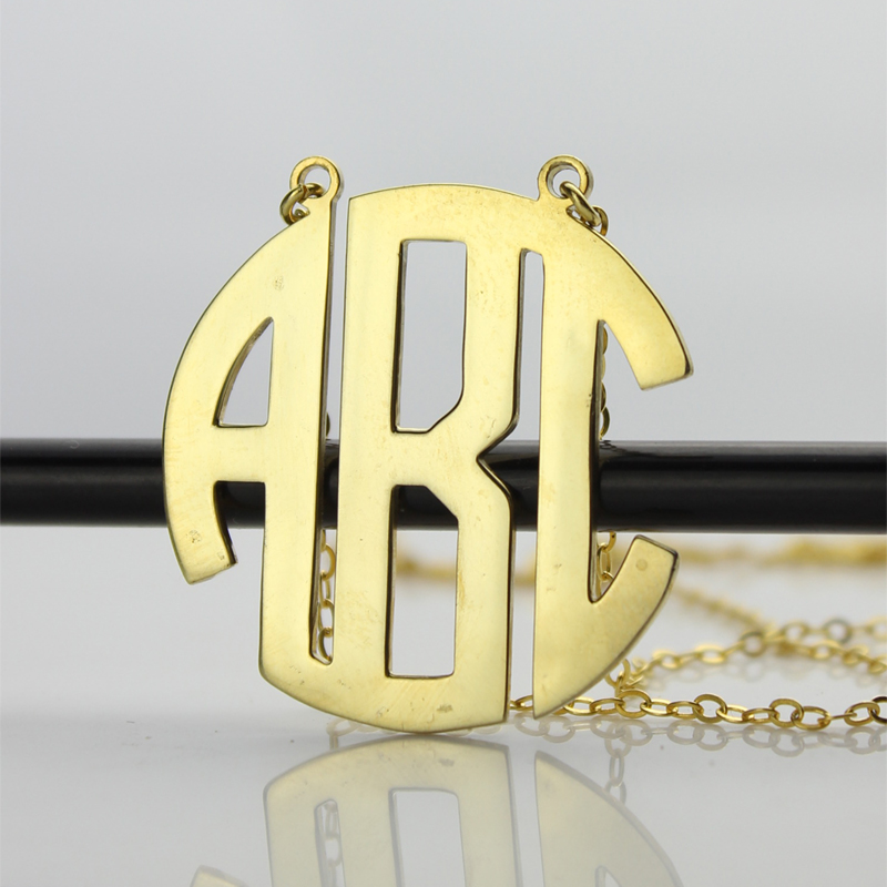 Gold Plated Block Monogram Necklace