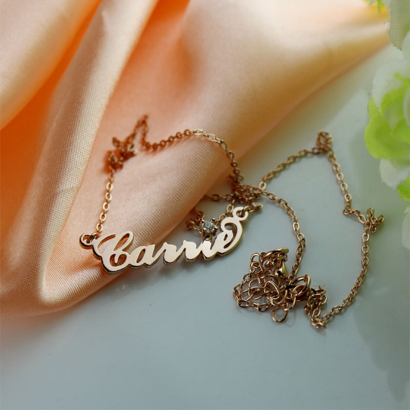 Rose Gold Carrie Name Necklace With Birthstone