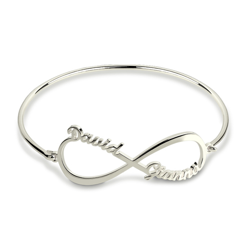 Custom Infinity Two Names Bangle
