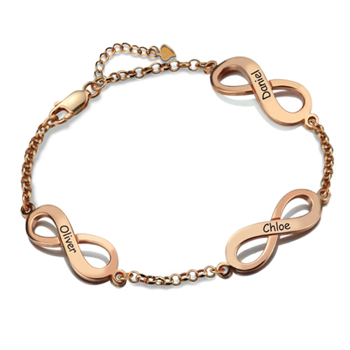 Triple Infinity Name Bracelet Rose Gold