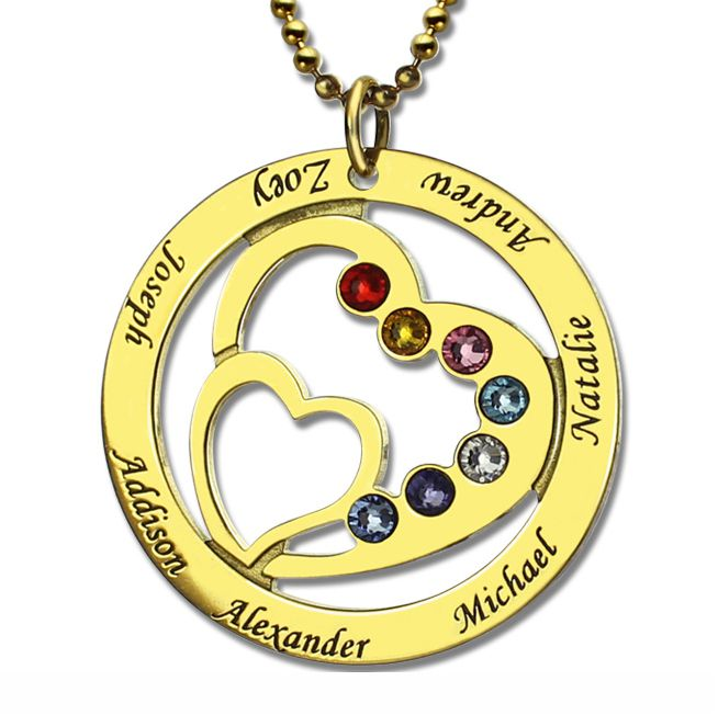 Heart in Heart Birthstone Name Necklace Gold Plated