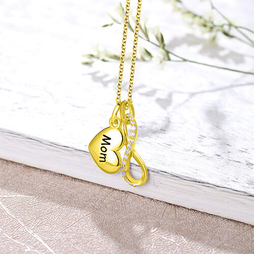 Custom Engraved Infinity Necklace Gold Plated