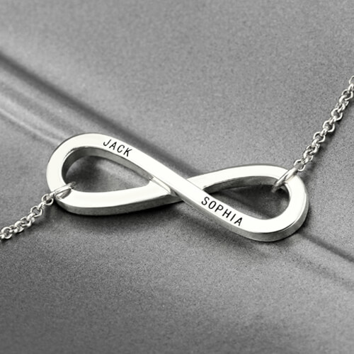 Engraved Infinity Symbol Necklace Sterling Silver